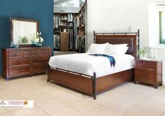 Artisan Home Kingsley 4 Piece Platform Bedroom Set in Rich Mahogany - traditional - furniture - by Beyond Stores
