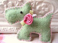 Scottie Dog Brooch made from vintage wool blanket