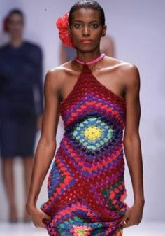 Granny square halter dress
