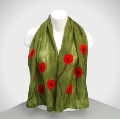 Nuno felted scarf, green with poppies, wool on silk, gift box included £25.00