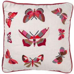 Fine Cell Work, Butterflies - Red/Pink on Cream £95.  Fine Cell Work is a charity and social enterprise that runs rehabilitation projects in 30 British prisons by training prisoners in paid, skilled, creative needlework, undertaken in the long hours spent in their cells, to foster hope, discipline and self-belief.