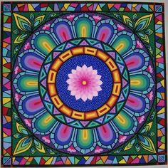 """""""Pink Lotus"""" Mandala by Soozie Wray Visit… Lotus Mandala, Mandala Art, Crochet Mandala, Mandala Canvas, Pink Lotus, Sacred Art, Whimsical Art, Mandala Design, Sacred Geometry"""
