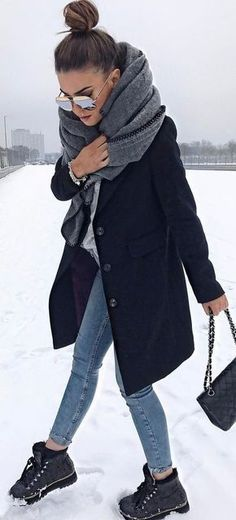 Grey Knit / Black Coat / Skinny Jeans / Black Booties