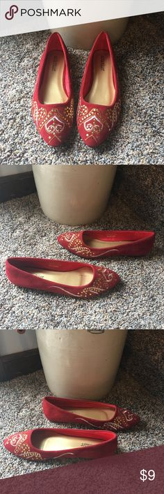 Cute red flats Red with gold embroidery flats. Used in good condition. Shoes Flats & Loafers
