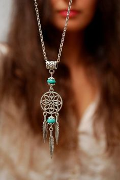 Emerald feather pendant silver dream catcher necklace by Estibela