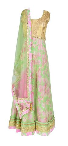 Green Floral Anarkali with Sequins and Mirror work - LuxShoppe.com