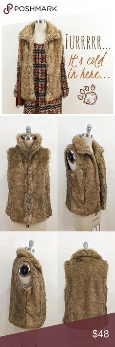 ZARA • brown faux fur vest with pockets Fur vest from Zara.  High collar and fully lined in brown satin.  Has 2 pockets!!!  Has hook and eye front closure. Zara Jackets & Coats Vests