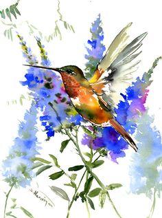 Hummingbird Artwork  Hummingbird and Blue Flowers tropical artwork- original watercolor hummingbird painting flying bird art Hawaiian style by ORIGINALONLY on Etsy