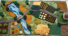Handmade Steiner Waldorf knitted and wool felt farmyard play rug mat and knitted house (DIY THIS! Diy For Kids, Crafts For Kids, Arts And Crafts, Felt Play Mat, Play Mats, Childrens Rugs, Art Textile, Fairy Garden Accessories, Farm Yard