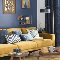 blue and yellow deco, Scandinavian living room, yellow mustard sofa, wall decoration … - Home Page Room Design, Blue Living Room, Living Room Scandinavian, Home Decor, Living Room Wall, Yellow Room, Couches Living Room, Yellow Sofa, Yellow Decor Living Room