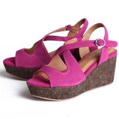 fuchsia cork wedge sandals