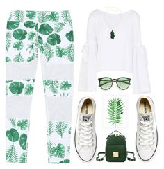 """""""In the mood for green and white"""" by deeyanago ❤ liked on Polyvore featuring Free People, Converse, Pottery Barn, GetTheLook, casual, cool, ootd and schooloutfit"""