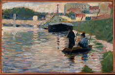 "Georges Seurat (French, 1859–1891). View of the Seine, 1882–83. The Metropolitan Museum of Art, New York. Bequest of Mabel Choate, in memory of her father, Joseph Hodges Choate, 1958 (59.16.5) | This work of 1882–83 is one of the first studies he painted along the Seine on the industrial outskirts of Paris. It anticipates the setting for his first major painting, ""Bathing Place, Asnières"" of 1883–84 (National Gallery, London). #paris"