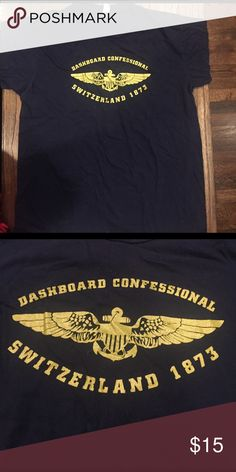 Dashboard Confessional Band Shirt Men's large. 100% cotton. In very good used condition. Navy with gold print. Very soft. Shirts Tees - Short Sleeve