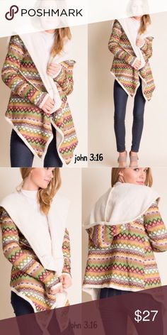 Faux fur trendy jackets Aztec print hoodie with faux fur. Such a trendy and fun jacket for the cooler seasons. Nylon/polyester blends - Price is firm. Large sold out Boutique Jackets & Coats