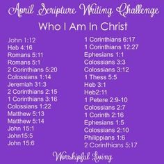 April Scripture Writing Challenge: Come join us to learn more about our identity in Christ!