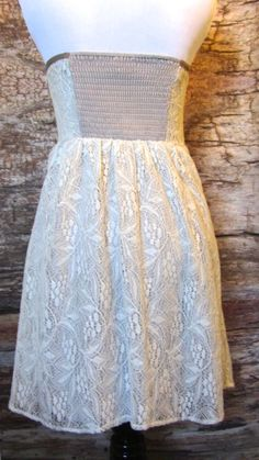 lace dress with light corset boning and brown trim for sale at summer-coquette.myshopify.com