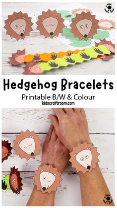 Make cute Hedgehog Paper Bracelets! This hedgehog craft is so fun and easy to make. The printable hedgehog template comes in B/W and six colour variations. It's a lovely autumn craft for kids and a great accompaniment to forest animal, hibernation or nocturnal study themes. #kidscraftroom #kidscrafts #hedgehogs #hedgehogcrafts #autumncrafts #fallcrafts #papercrafts #printablecrafts #forestanimals Autumn Crafts, Fall Crafts For Kids, Toddler Crafts, Art For Kids, Hedgehog Craft, Cute Hedgehog, Creative Arts And Crafts, Paper Crafts For Kids, Paper Bracelet