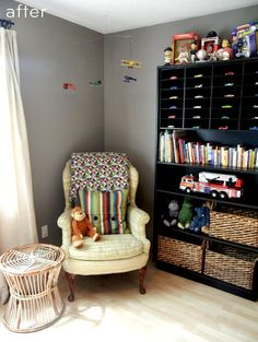 Make sure bookcases are attached to the wall. Great mobile and reading nook for mom and your little boy. From designsponge.com