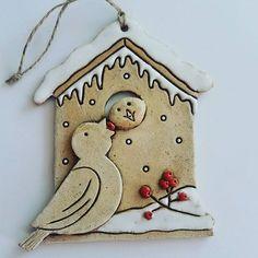 #keramika #ceramics #ceramica #zima Ceramic Christmas Decorations, Christmas Ornaments, Clay Projects, Clay Crafts, Happy Festivus, Clay Birds, Hand Built Pottery, Clay Creations, Clay Art