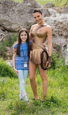 Gal Gadot behind the scenes of Wonder Woman