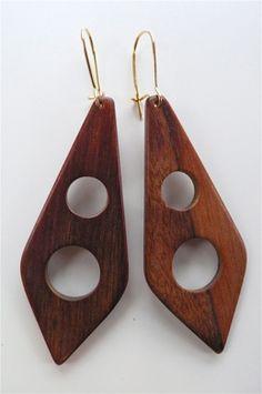 vintage wood earings, Lulu