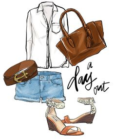 Fashion illustration of Madewell white shirt, gilly hicks denim cut off shorts, anchor belt, steve madden low wedge sandals, coach legacy tote