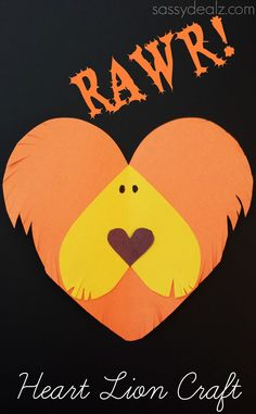 Lion craft for kids made from paper hearts! #Heart shape animal #DIY #Boys valentines | http://www.sassydealz.com/2014/02/lion-heart-craft-kids.html