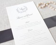 Laurel Wreath Monogram Wedding Menu Cards DEPOSIT to get started on Etsy, $50.00