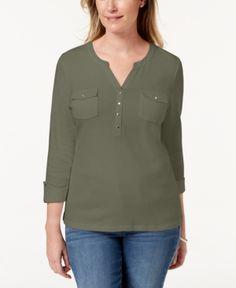 50dd9eec0c4ab Karen Scott Plus Size Cotton Half-Zip Tunic