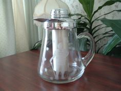 Vintage chillit glass pitcher with lid