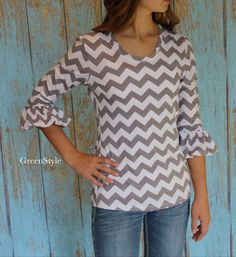 Women's Bella Bubble Sleeve Knit Top in Gray  and by Gogreenstyle, $52.00