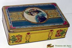 TesorosDelAyer.com · Old Antique Vintage Tin Box · Old tins boxes · OLD TIN BOX WITH ILLUSTRATION OF WOMAN LITHOGRAPHED, MODERNIST, LIT. MANUEL ALEMAN, MURCIA - MEASURES 26 X 17 CMS. - C4.