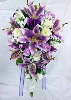 Teardrop Wedding Bouquet, Purple lillies, Ivory, purple roses Brides | eBay