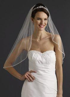 David's Bridal Bridal Elbow Length Veil, 1 Tier with Beaded Edge Style VMP9573, Ivory David's Bridal. $149.00