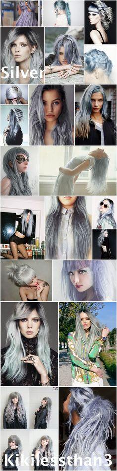 Grey hair, gray hair, silver hair, pastel hair. Ideas for dying your hair silver. Enjoy!