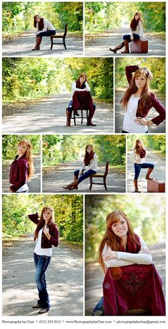 Fall inspiration in Michigan with my daughter, a country road, wooden chair and an old suitcase. Michigan - Posing Ideas - Senior Portraits - Location Ideas - Props - Outfits - Colors - Fall - Country Road - Dirt Road