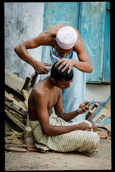 Outdoor Barber . Dhaka, Bangladesh