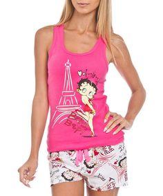 Look at this #zulilyfind! Hot Pink & White Betty Boop Tank & Shorts Set by Betty Boop #zulilyfinds