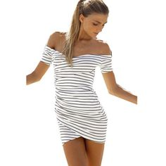 6a3e3a582ae New Arrival Europe and the United States In Summer Package Hip Slim Short  Sleeve Stripe Dress