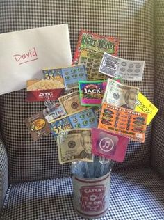 18th Birthday Bouquet With Gift Cards, Scratchers, Candy, and Money ✨ #CuteIdea by tabu-sam