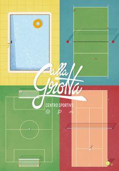 https://www.behance.net/gallery/25837473/Sport-Fields-Sport-Centre-alla-Grotta?  illustration by GiacomoMarangon #sport #field #illustration #soccer #swimmingpool #volley #tennis