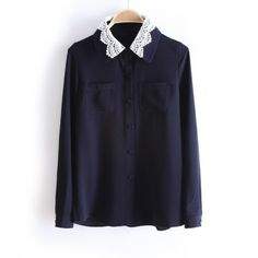 Indressme   Lace Lapel Dark Fashion Blouse style 0312039 only $51.33 .