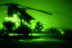 CH-47D Chinooks seen through night vision.
