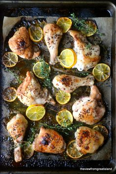 Meyer Lemon Roast Chicken baking pan