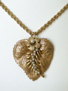 Miriam Haskell Necklace Heart leaf flowers  $78.00