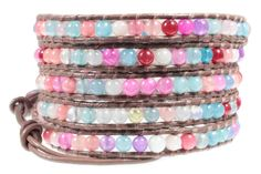 """BSJ Rio Color Bead Brown Leather 5x Wrap 39 Inch Long Cuff Bracelet. Stylish """"Rio"""" Wrap Bracelet on Latte Brown Leather. Colorful 4mm Round Beads in Blue, Purple, Pinks, White and Aqua Colors. Long 39 Inch Leather Bracelet Wraps 5x Around On Average Size Wrist. Adjustable Loops & Button Closure. Arrives Ready To Give in Gift Box."""