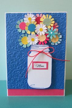 Mothers Day card-Handmade cards Greeting cards by HabitatHaven Pretty Cards, Love Cards, Diy Cards, Diy Mothers Day Gifts, Gifts For Kids, Mason Jar Cards, Mason Jars, Vintage Birthday Cards, Mother's Day Diy