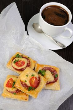 Appetizer of puff pastry with salami by Apolonia on Creative Market