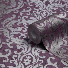 Graham & Brown Drama Purple Damask Metallic Wallpaper   Departments   DIY at B&Q